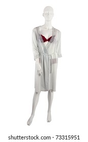 Red lingerie and gray robe on a mannequin, isolated on white