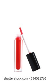 Red lip gloss isolated on a white
