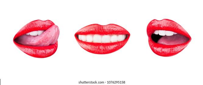Red lip, set mouth. Sexy lips, lip care and beauty. Beauty sensual lips. Woman lips. Lipstick or lipgloss. Lipstick and lipgloss, red makeup. Close up, macro with beautiful woman mouth. Lick tongue.