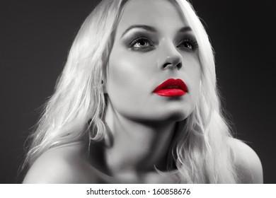Red lips. Beautiful Woman . Black and white photo