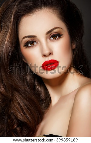 Red Lips Beauty Makeup Woman Brunette Stock Photo Edit Now