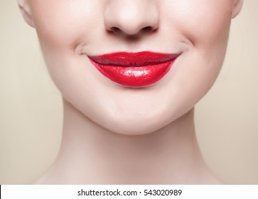 red lips, close-up portrait