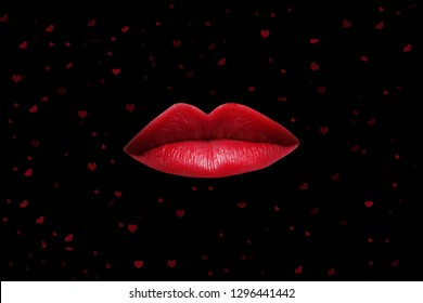 Red Lips on Black Background Surrounded by Hearts for wallpaper or greeting card Valentine