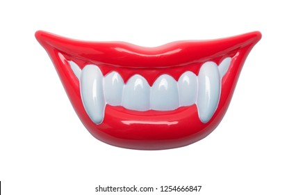 Red Lips With Vampire Teeth Isolated on White Background.