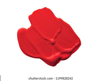 Red lipstic smudge white isolated  background
