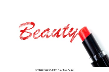 Red lipstick beauty concept