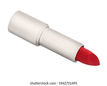 Red lipstick isolated against white background