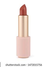 Red lipstick isolated on white. Velvet matte satin airy lip stick new open.