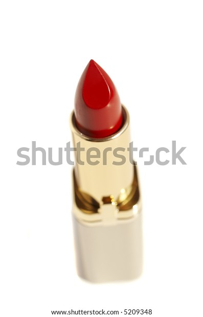red lipstick isolated on white with shadow