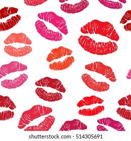 Red lipstick kiss seamless pattern, female lips on white background.