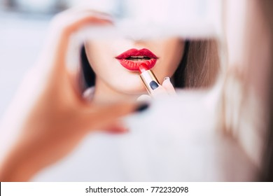 red lipstick makeup seductive sensual provocative sexy woman lips concept