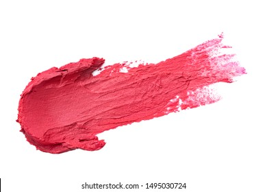 Red lipstick smear isolated on white background. Makeup product sample