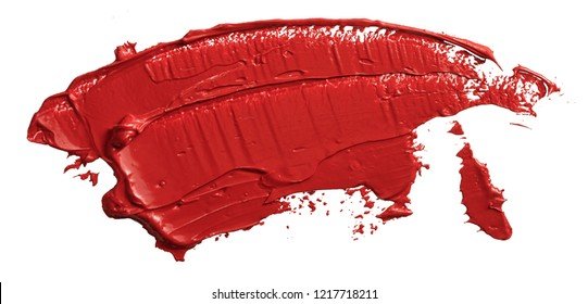 Red lipstick swatch. Textured hand drawn red oil paint brush stroke painting, convex with shadows, isolated on white background