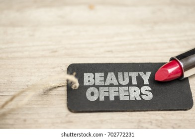 Red lipstick and tag writing beauty offers