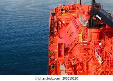 Red Liquefied Petroleum Gas tanker, bow with equipment