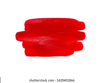 Red liquid lipstick smudge isolated on white background. Lip gloss and lipstick smear. Makeup swatche. Cosmetic product stroke. Acrylic paint smeared texture. Gouache brush painted texture.