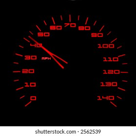 Red lit car speedometer against black background