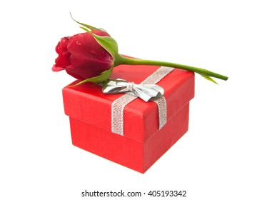 Red little rose on original gift red small box. For valentine, greeting card. Isolated on the white background