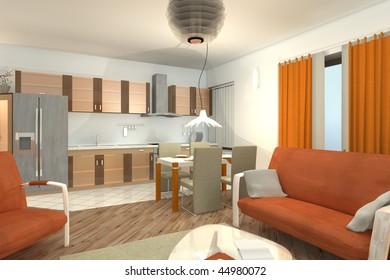 red living room + kitchen interior