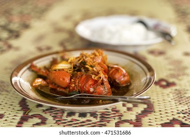 Red lobster in indoinesian beach style cuisine