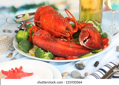 Red lobster on platter on serving table close-up