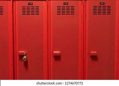 Red lockers in locker room