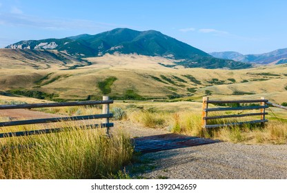 Red Lodge, Montana, USA. Foothills of Bear Tooth Mountains on a summer day with sagebrush and grassland as viewed from the Bear Tooth Mountain pass highway near Red Lodge, Montana, USA.