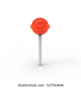 Red lollipop icon 3d rendering on white background