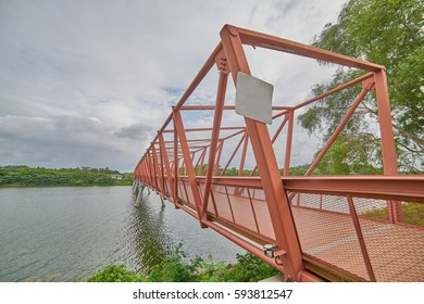 Red Lorong Halus Wetland Bridge in Pasir Ris and Punggol, Singapore.