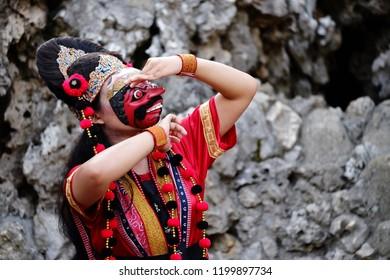 Red Losari Mask Dance in Goa Sunyaragi, Cirebon, West Java, Indonesia.