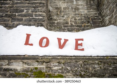 Red Love Letters at the Snow