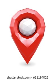 Red low poly GPS location marker pin isolated on white , Geolocation position icon , 3d illustration