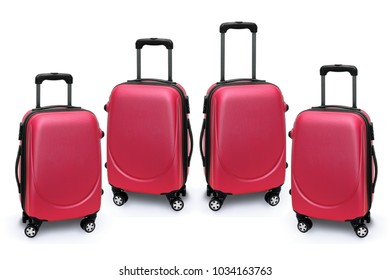 Red Luggage Bags on White Background