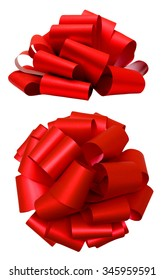 Red lush bow isolated over white with clipping path; side and top view