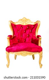 red luxurious armchair   isolated on white