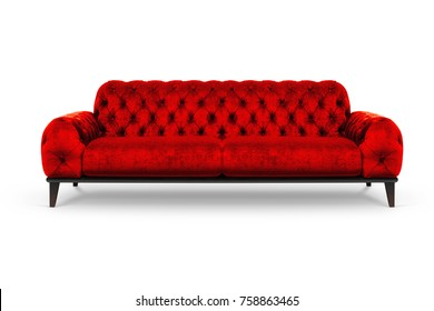 Red Luxurious sofa on white background, included clipping path