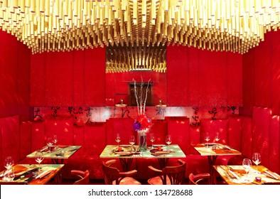 red luxury asian style restaurant interior