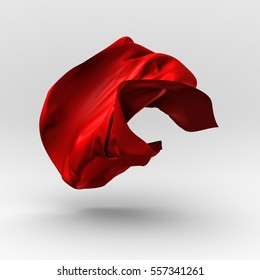 Red luxury flying silk cloth. Design element. 3d render illustration