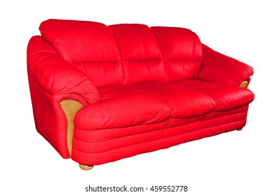 Red luxury leather sofa isolated on white background, with clipping path.