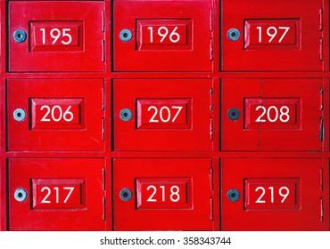 Red mail box with numbers