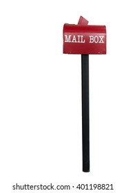 Red mail box on white isolated