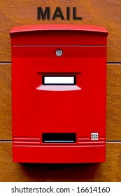 Red Mailbox with white name space