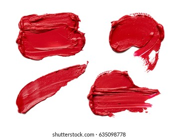 Red makeup smear of lip gloss isolated on white background. Red lipstick texture isolated on white background