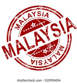 Red Malaysia stamp with white background, 3D rendering