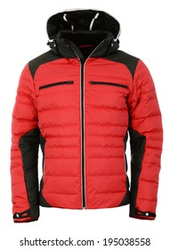 Red male winter jacket
