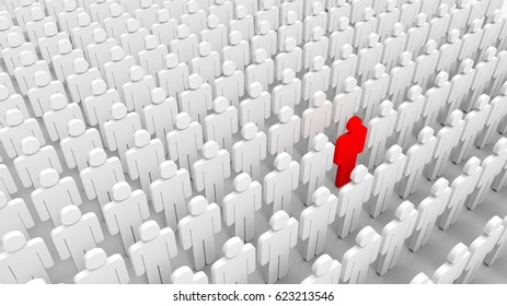 Red man among crowd of white. 3D illustrating