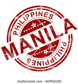 Red Manila stamp with white background, 3D rendering