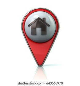 Red map pointer with home icon 3d illustration on white background