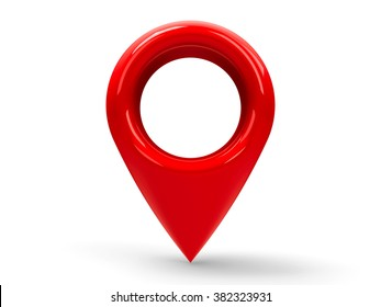 Red map pointer isolated on white background, three-dimensional rendering