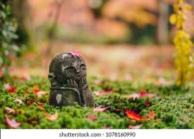 Red Maple leaf on head of Jizo  sculpture doll (little Japanese Buddhist monk doll rock) in Japanese Garden, Enkoji Temple, Kyoto, Japan. Autumn season japan
